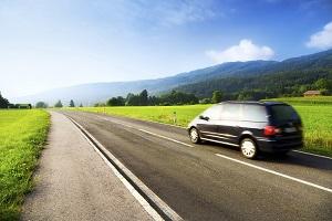 Van driving in the summer