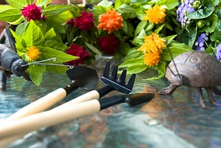 garden tools in front of flowers