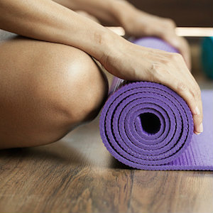 yoga mat in class